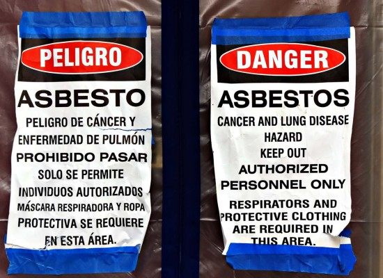 adbestos hazard label