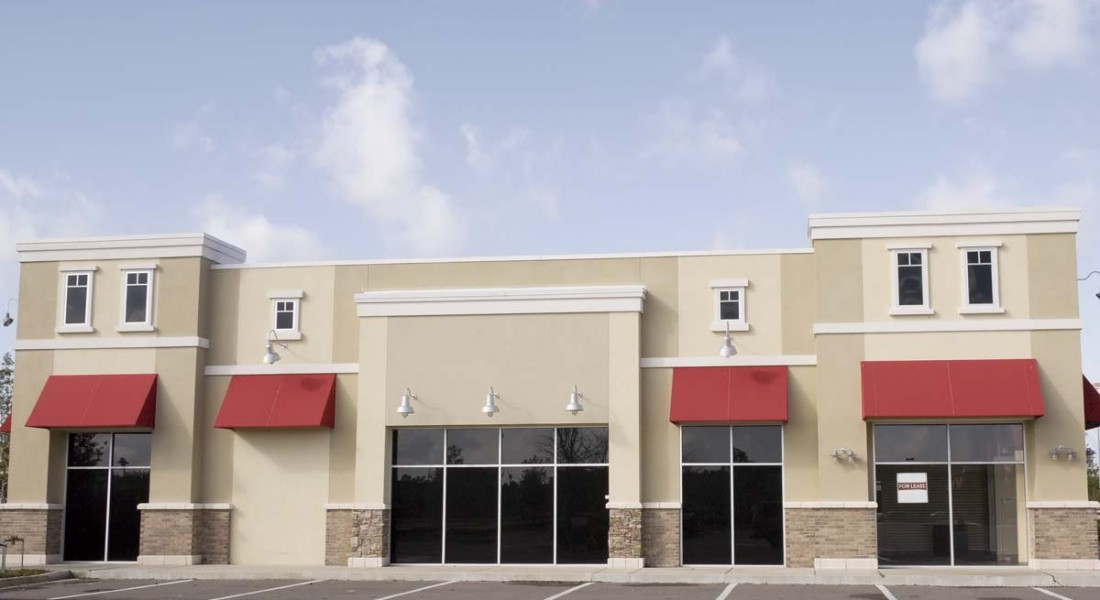 stucco retail building